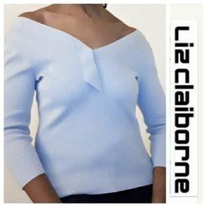 NWOT- Liz Claiborne Pale Blue Top